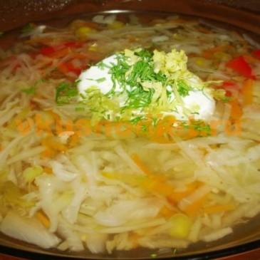 Постные щи из свежей капусты с фасолью или горошком