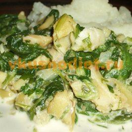 Рыба со шпинатом в сливочном соусе