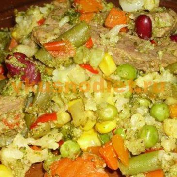 Мясо с овощами на пару